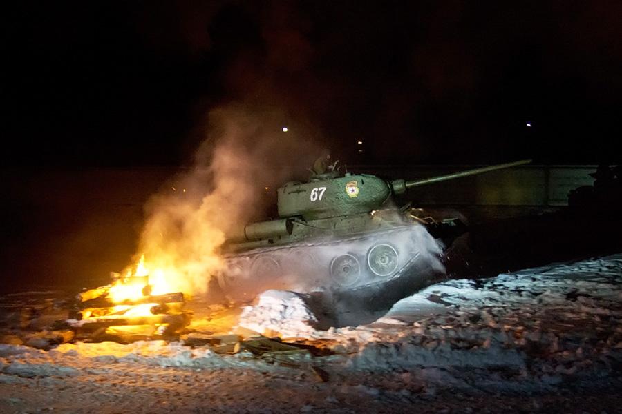Т-34 прыгает