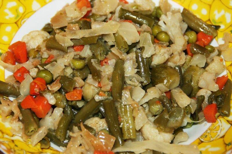 овощи тушеные, пост, фасоль, брюссельская капуста