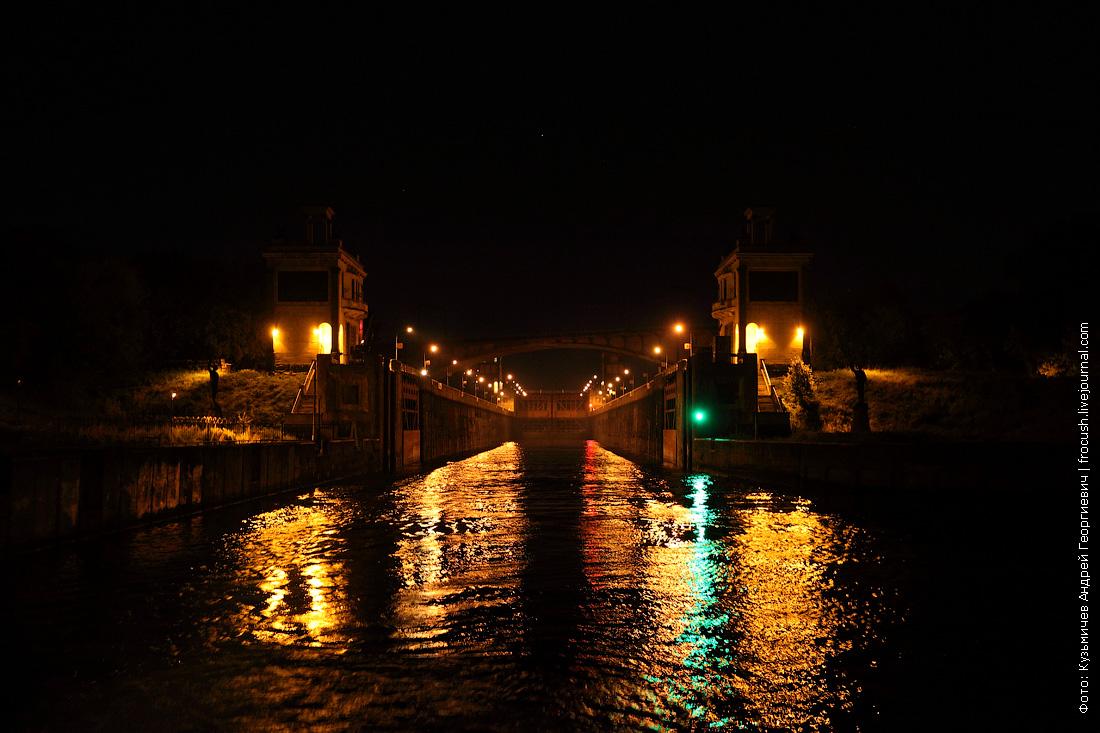 шлюз №8 канала имени Москвы фотография ночная