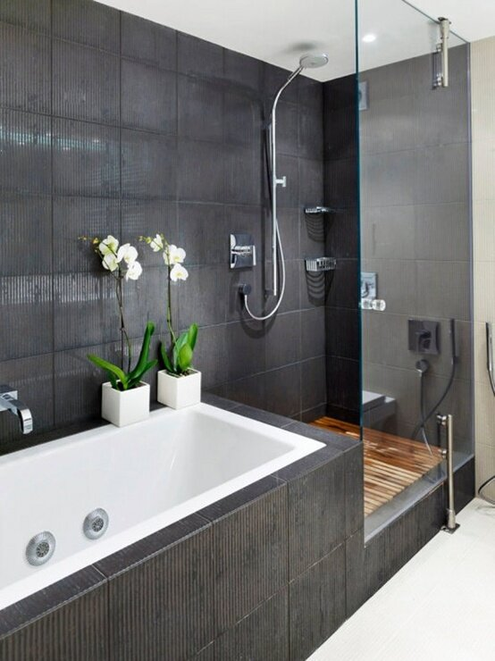 Grey subway tile bathroom