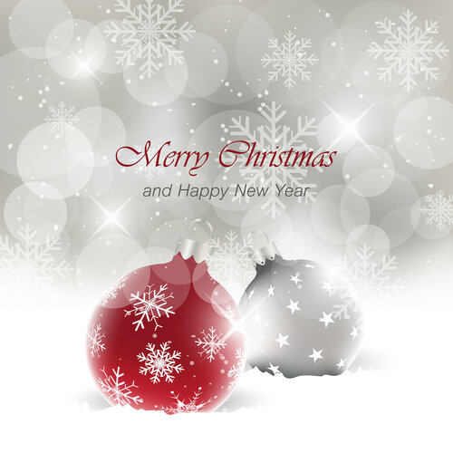 Christmas card with light effect and a bobble in the snow. Vector greeting card.