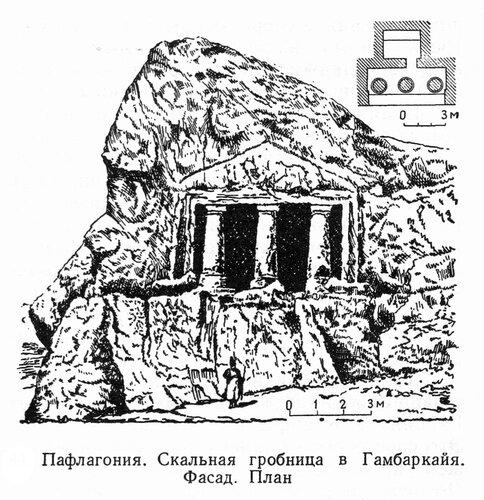 Скальная гробница в Гамбаркайя, чертежи