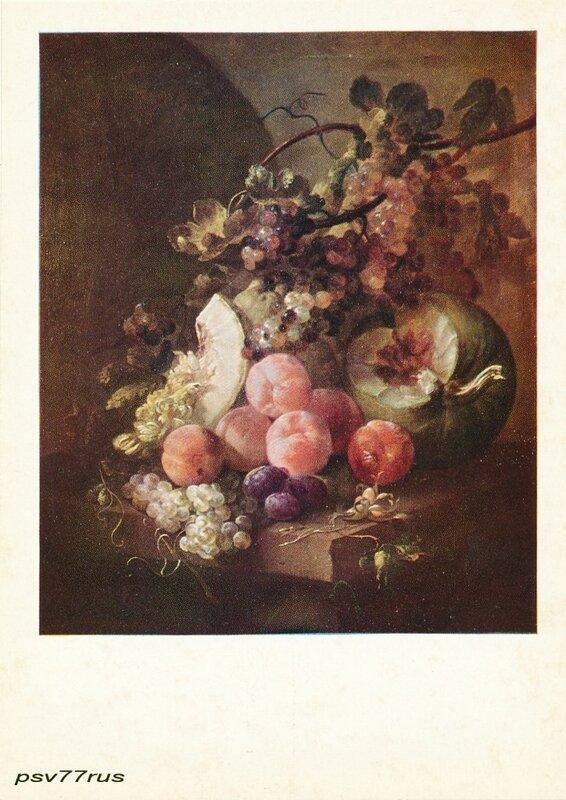 Натюрморт с персиками.  Ян Франс ван Сон (1658-1718).Фламандская школа.