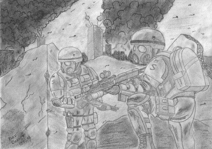 Украинский пехота в бою. Енакиево.Разведывательная рота пробирается по руинам промышленного комплекса