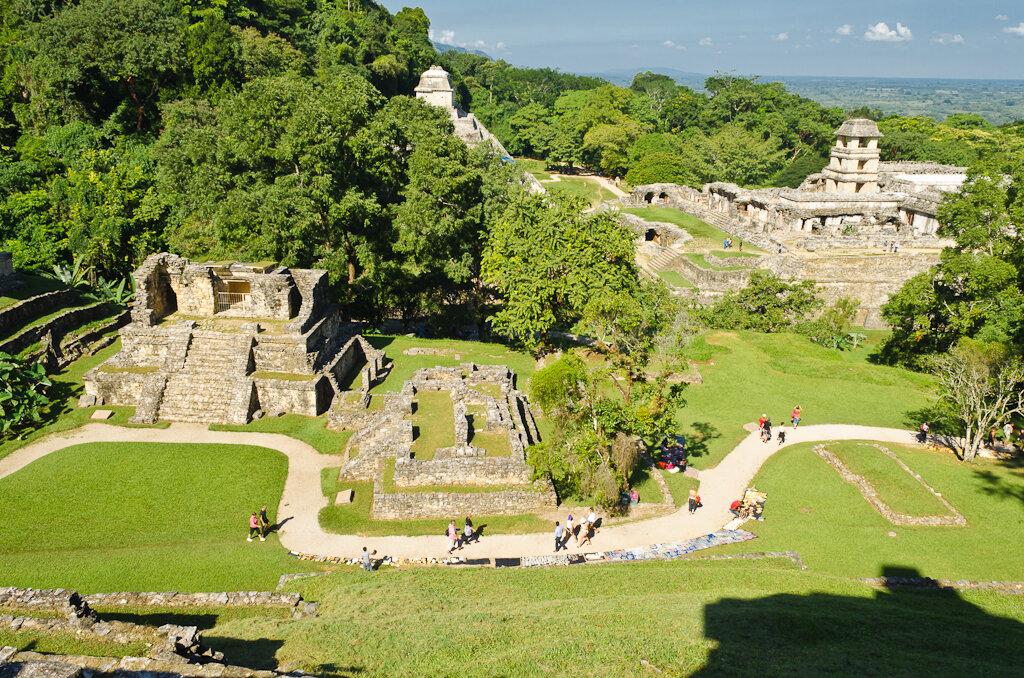 Вид с вершины пирамиды на археологический комплекс Паленке в Мексике. Отзыв о поездке по стране за рулем арендованной машины