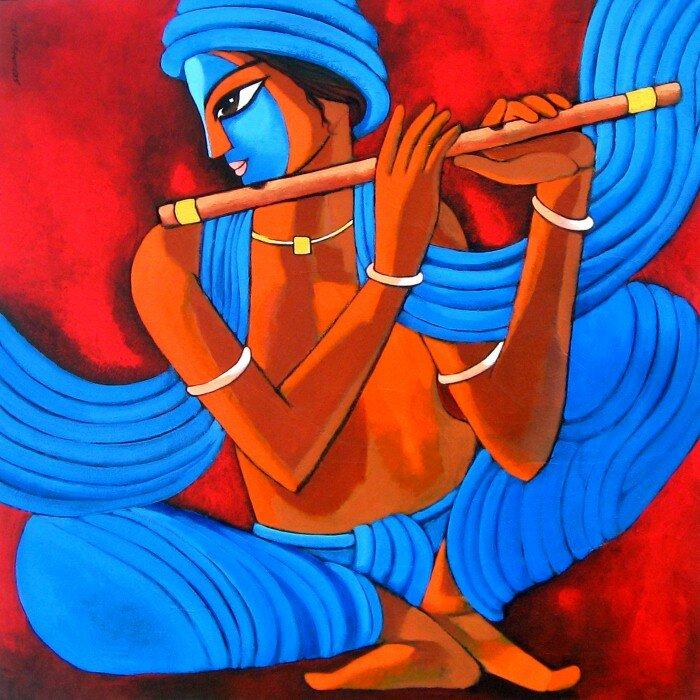 Сделай дудочку мне из глины и сыграй на рассвете весной... Индийский художник Сехар Рой