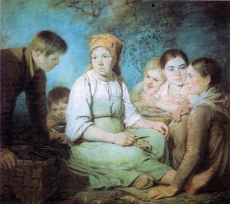 Алексей Венецианов, Очищение свеклы.1821
