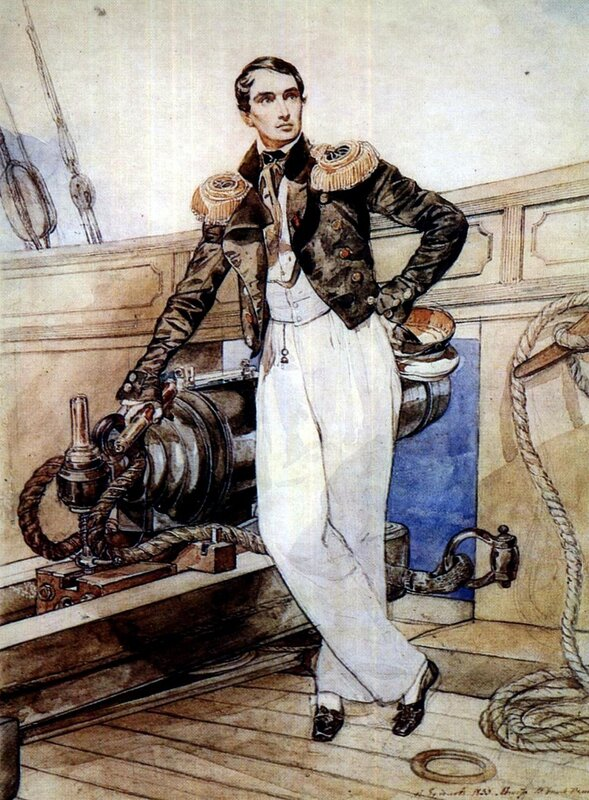 Карл Брюллов, живопись, Портрет В. А. Корнилова (1806 - 1854) на борту брига