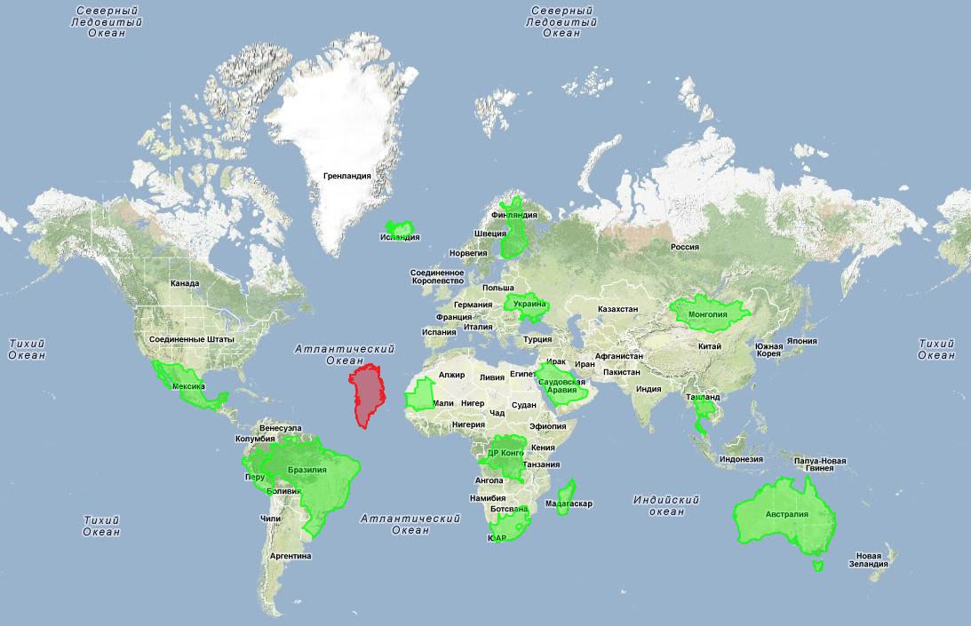 размеры Гренландии