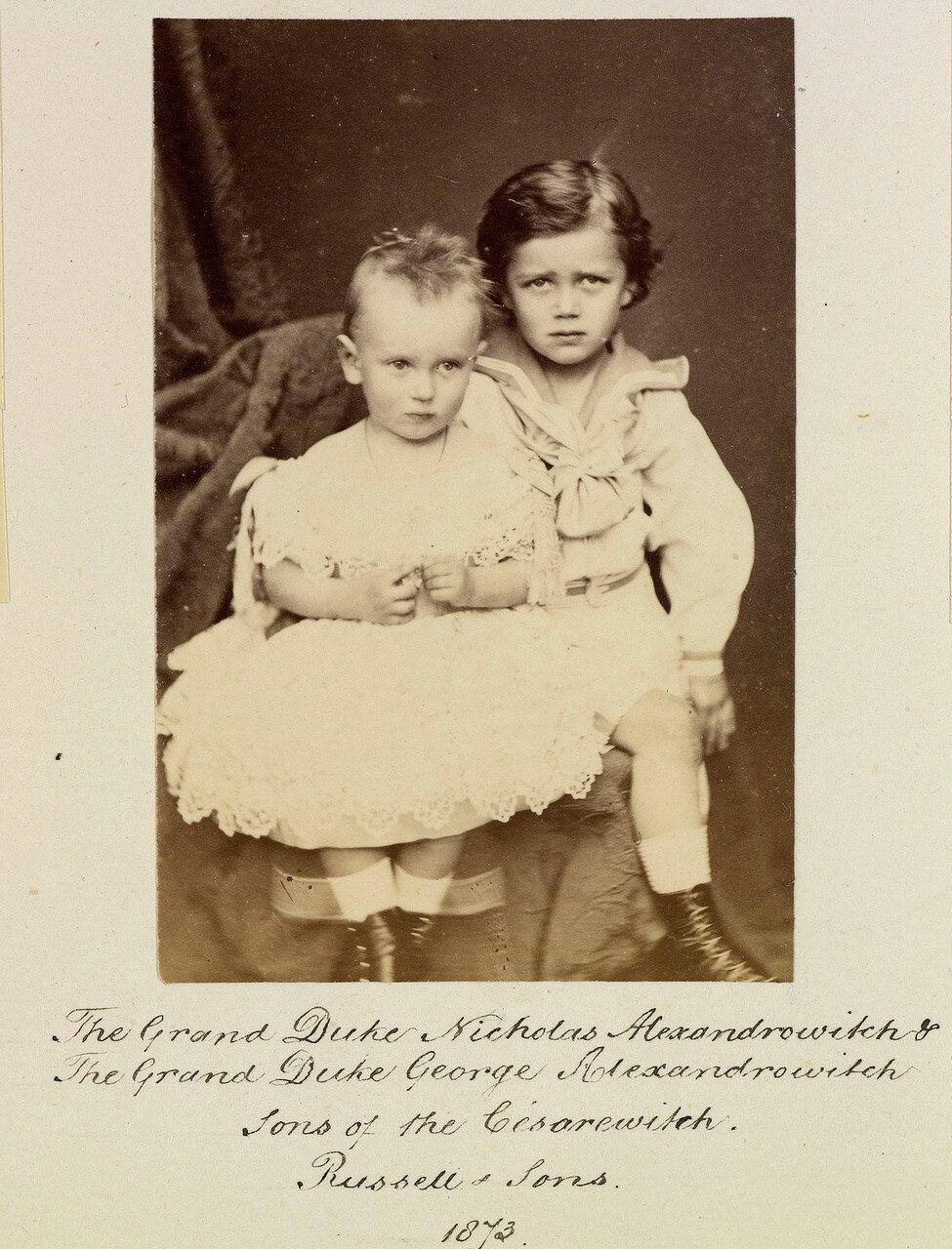 Великие князья Николай Александрович и Георгий Александрович. 1873