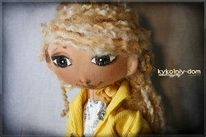 конфетка к 8 Марта. кукла Марта и фламинго текстильный.( шарнирная текстильная кукла ) подарок.