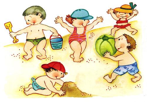 Дети без одежды играют на пляже
