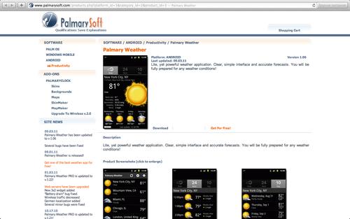 Страница приложения Palmary Weather на сайте palmarysoft.com