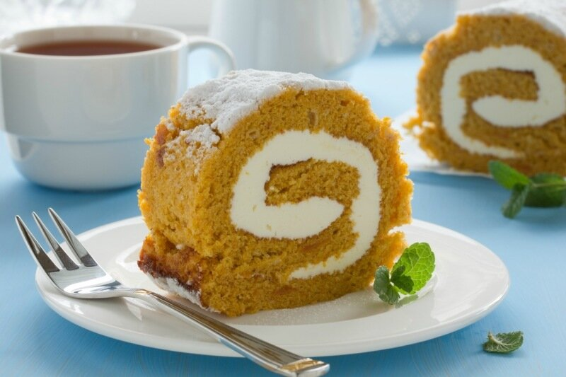 Pumpkin roll with the cream.