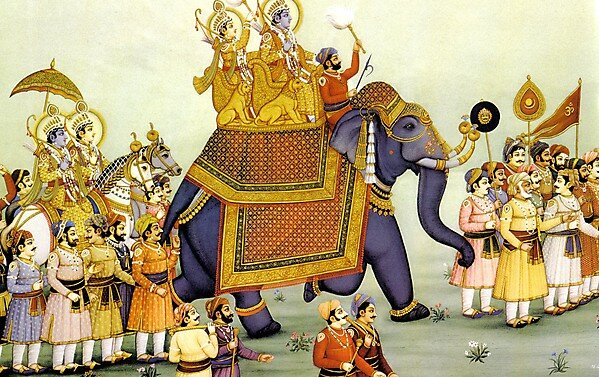Картина инд. худ. ШАРМА  - Свадьба Ситы и Рамы переезжает в царство Дашарадхи Махараджа