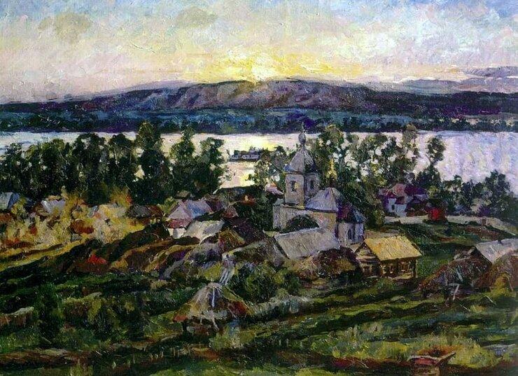 Лентулов. Закат на Волге 1928 год.
