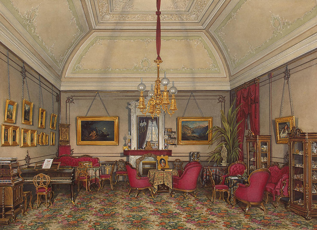 Интерьеры Зимнего дворца. В гостиной великой княгини Марии Александровны