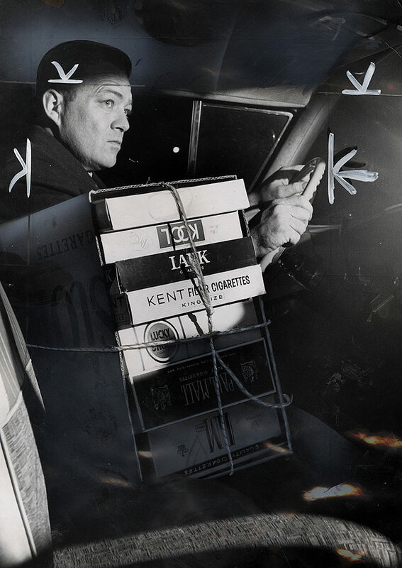 New York Journal-American reporter Jim Connolly practices methods of illegally smuggling cigarettes into New York after the state enacts a new tax on cigarettes