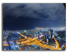 ОАЭ. Дубаи. Panorama of down town Dubai city at night. Фото benis arapovic  - Depositphotos