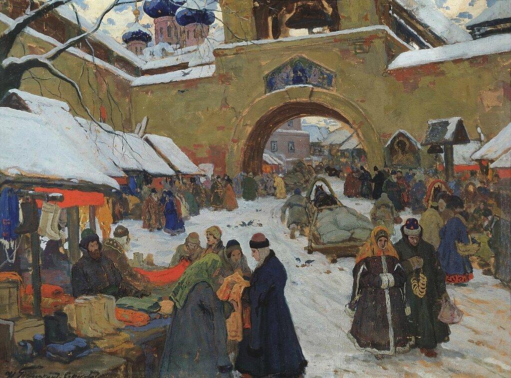 Горюшкин-Сорокопудов Иван (1873-1954): Базарный день. Холст, масло