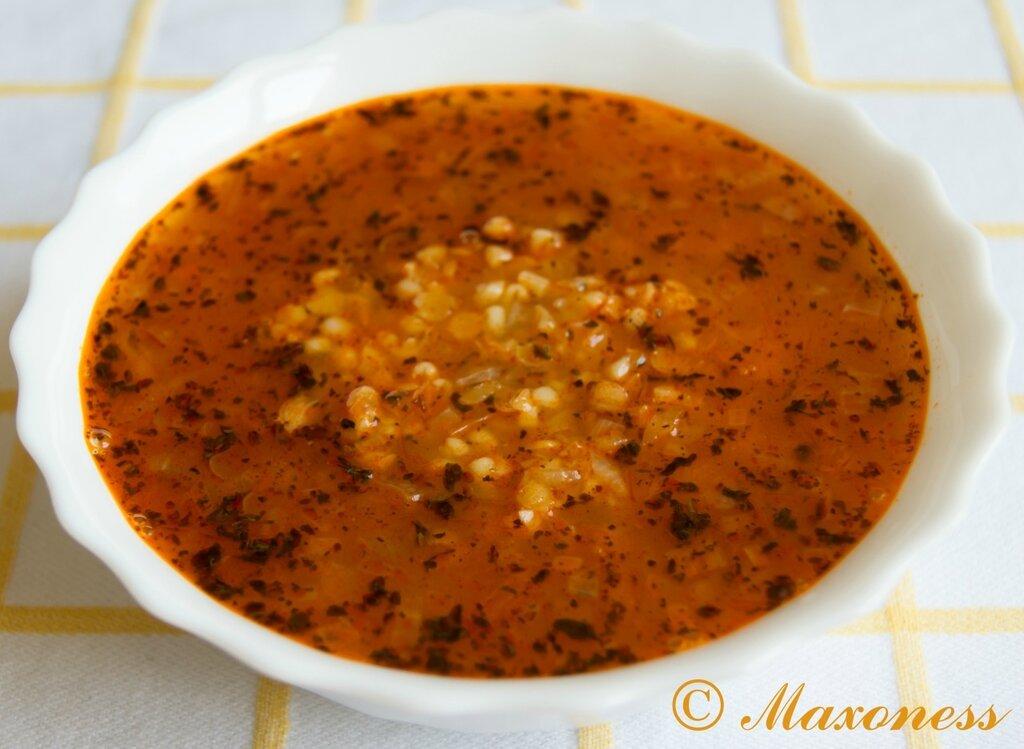 Суп из чечевицы с булгуром. Арабская кухня