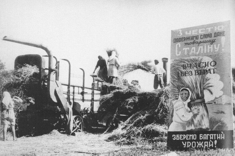 Жатва в колхозе им. Н. Хрущева на Станиславщине (современная Ивано-Франковская область). 1948