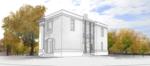 Общий вид жилого кирпичного дома с возможностью организации двадцати обособленных помещений объединенных коридором и лестничным блоком, лестница защемлена в железобетонный каркас с арочным завершением Mod 65-120