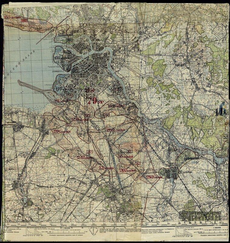 Карта укрепленных районов, созданных в период блокады Ленинграда