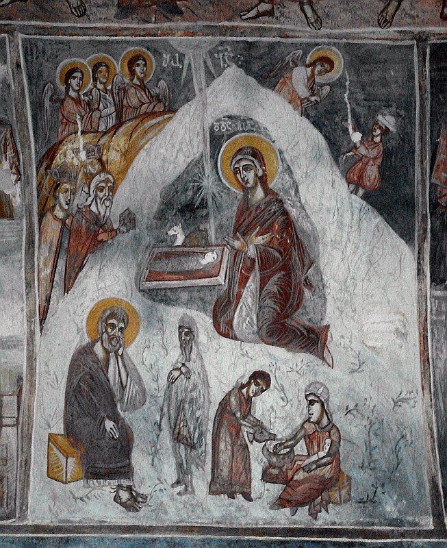 Рождество Христово. Фреска в северном приделе Гелатского собора