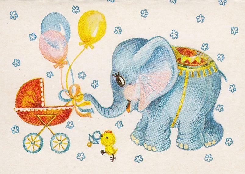 Ретро открытка с рождением сына