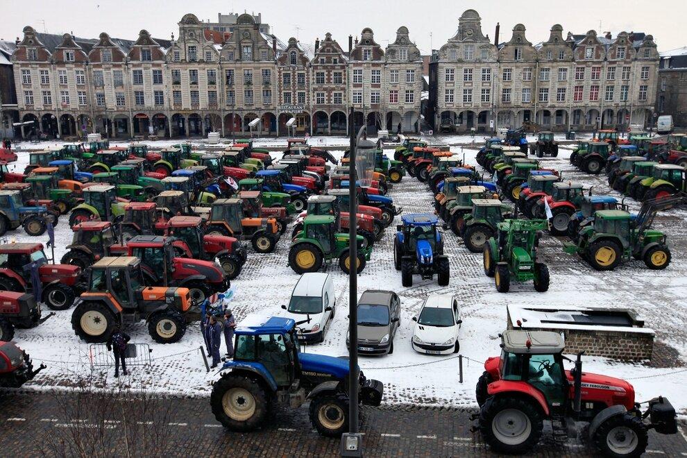 Акция протеста французских фермеров в Аррасе