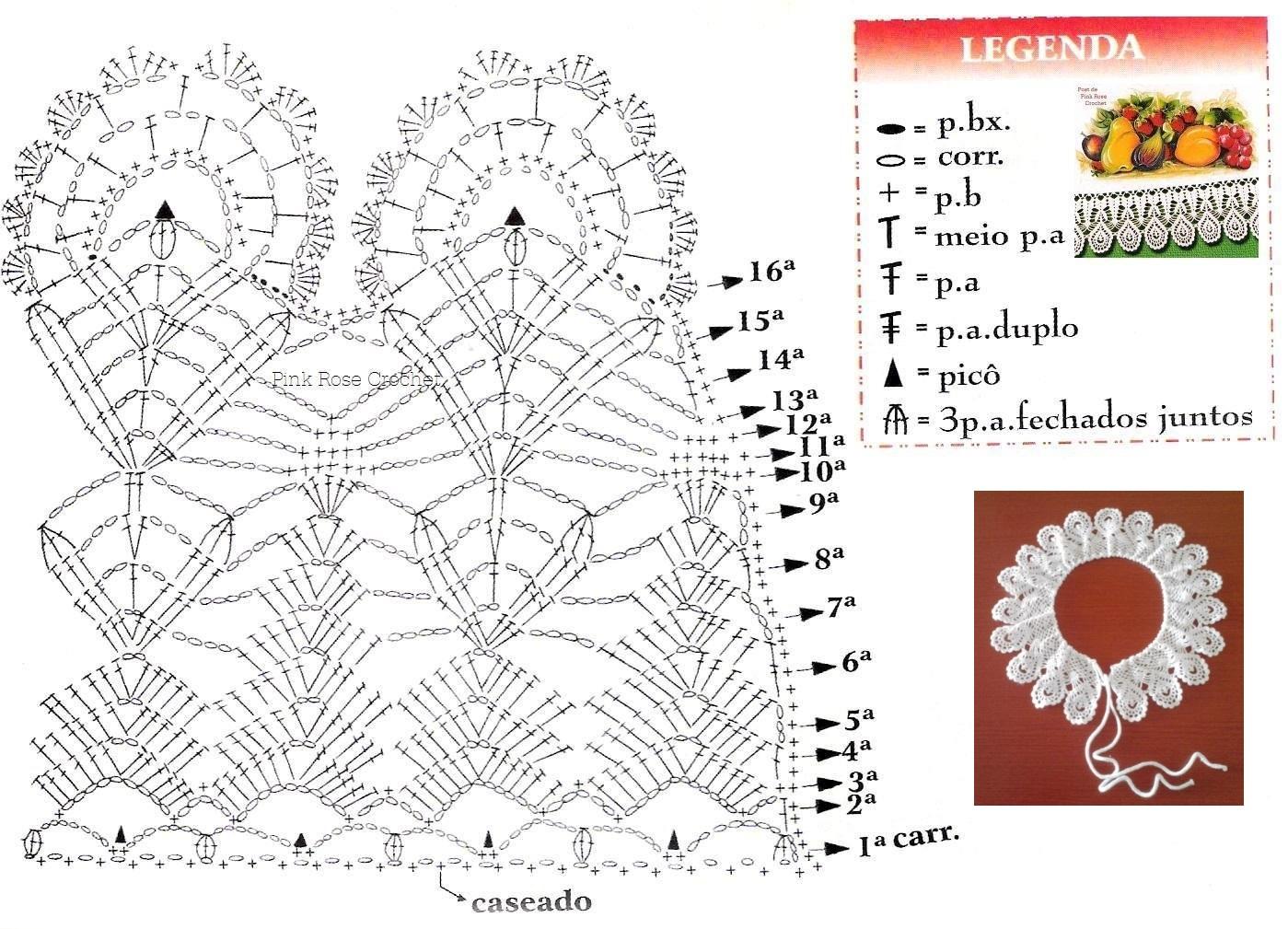 Схема вязания накладных воротников