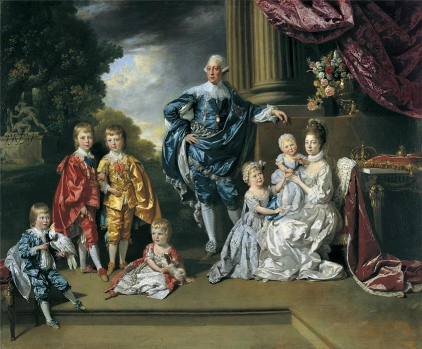 Johan Joseph Zoffany (Frankfurt 1733-London 1810)George III (1738-1820), Queen Charlotte (1744-1818) and their Six Eldest Children  1770
