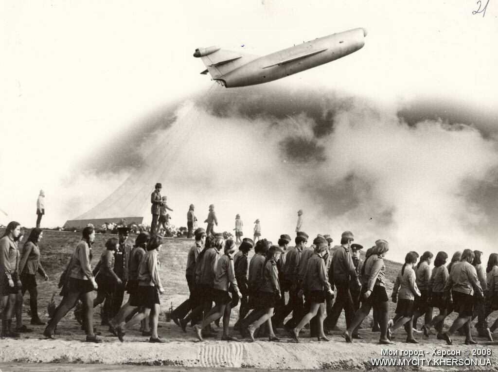 Открытие памятника Скадовской авиагруппе. 1978 год.