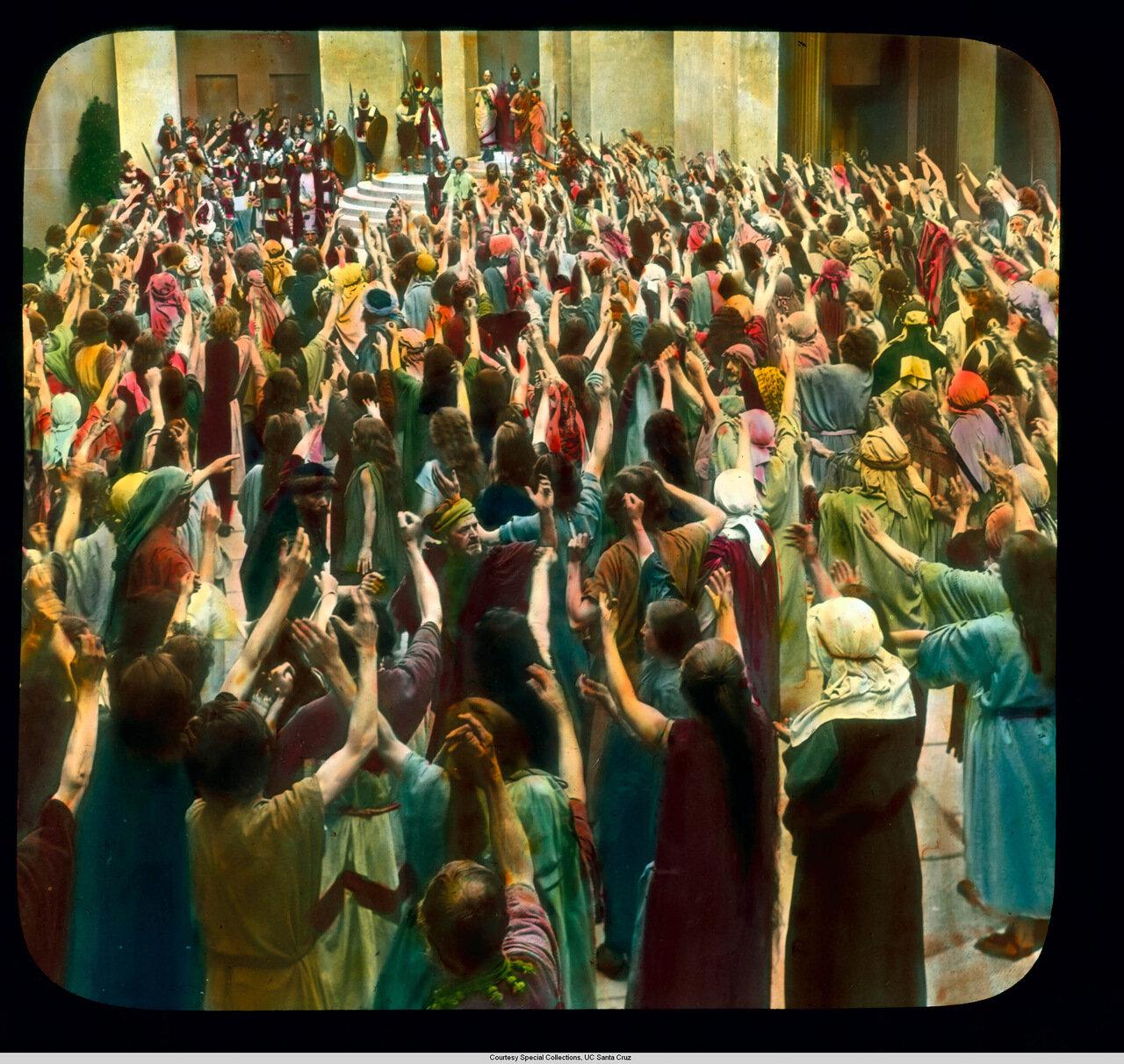 Обераммергау. Страсти Христовы. Толпа проклинает Христа
