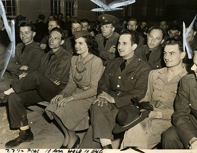 Film actress Jane Russell appears at the Army Day ceremonies at Camp Roberts, California.jpg