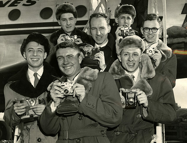 Young editors of college publications prepare to depart for a journey to visit Moscow, USSR.