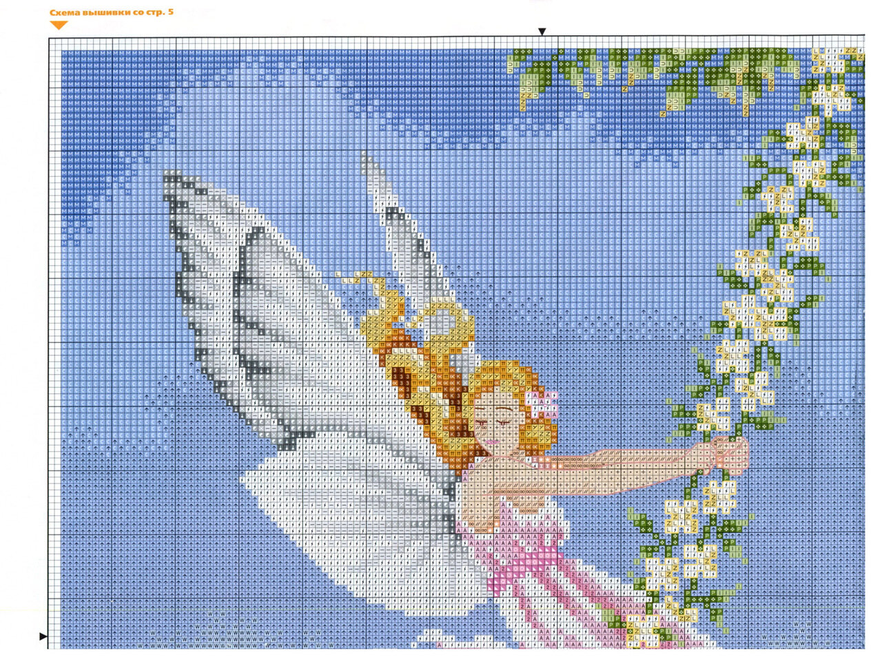 Вышивка крестом Ангел с кроликом - купить в интернет 52