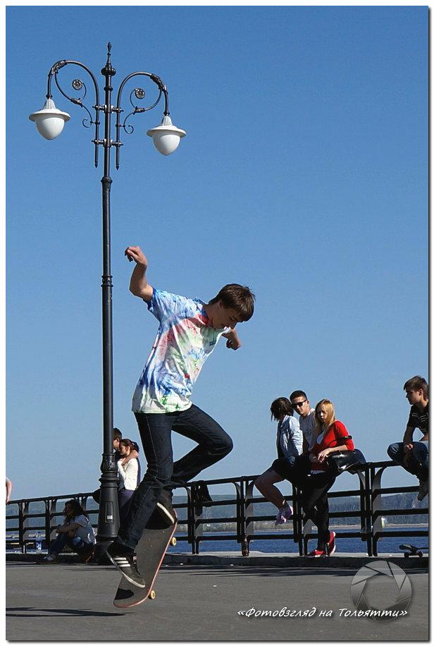 Скейтеры на набережной Тольятти