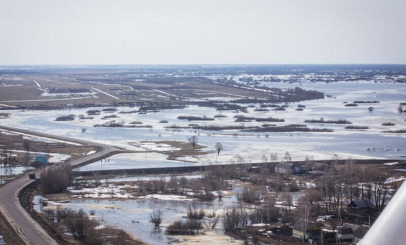 Паводки на Полесье. Вид с вертолёта