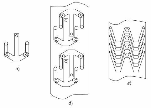 Конструктивно-технологическая отработка изделия: а) — первоначальная конструкция изделия; б) — первоначальный раскрой листа при производстве изделия; е) — конструктивная отработка изделия и раскрой материала
