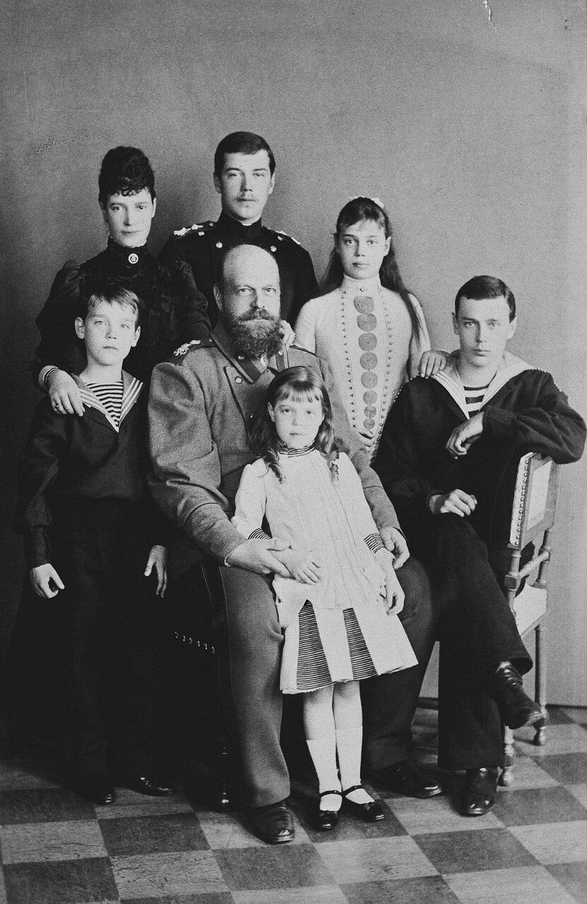 Александр III, Мария Федоровна и их дети, 1889 г.