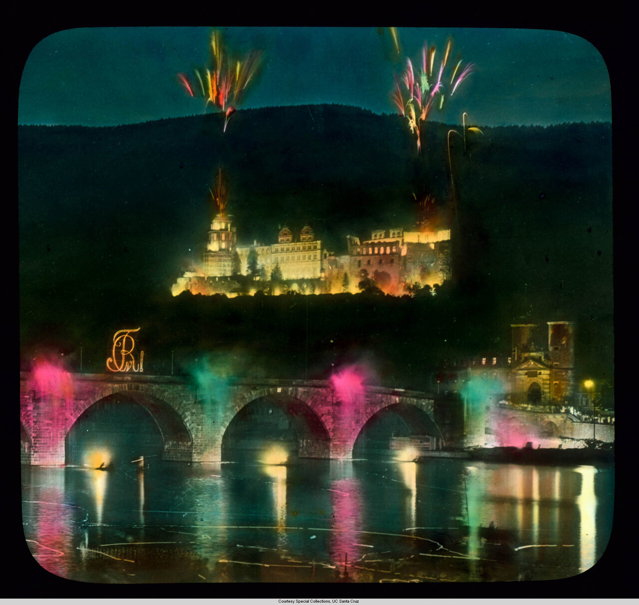 Гейдельберг. Фейерверки над городом, Замком и мостом Карла-Теодора