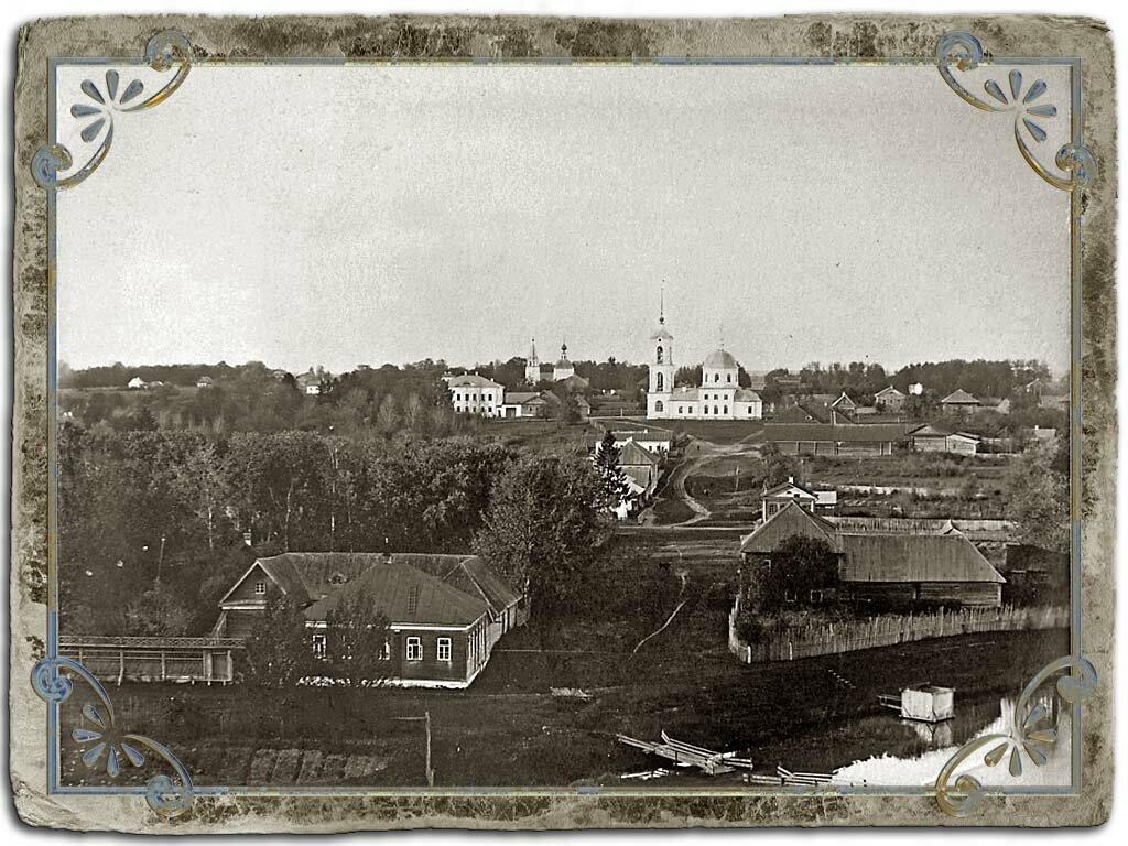 Вид с вала городского сада на церкви Никольско-Благовещенскую и Фрола и Лавра