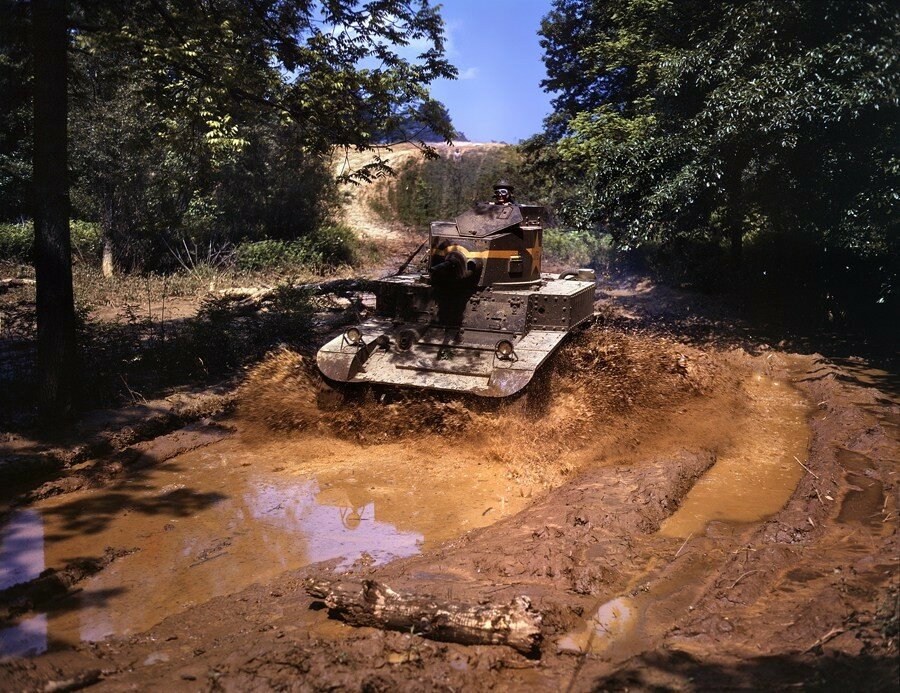 "Fort Knox, June 1942. ""Light tank going through water obstacle."".jpg"