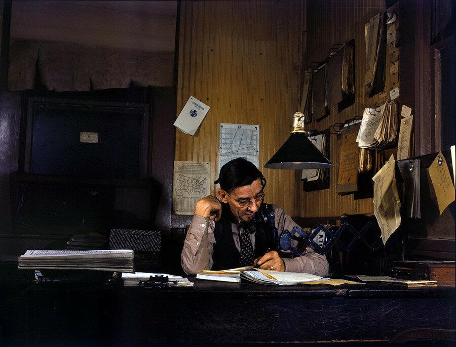 March 1943. Yardmaster at Amarillo, Texas, railyard.jpg