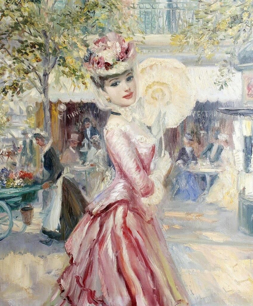 Дама в розовом платье с зонтиком (Lady in a pink dress with parasol)_61.5 х 51_х.,м._Частное собрание.jpg