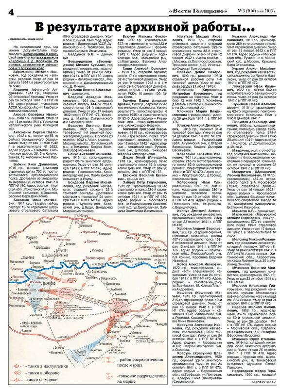 Список захороненных в братскиз могилах в Кобяково и Краснознаменске, из газетыВести Голицыно N3 2013г