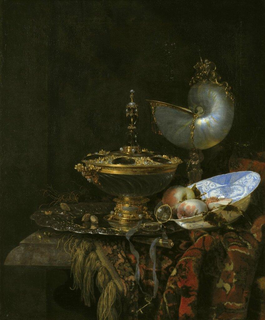 Копенгаген (SMK) Датская национальная галерея: Кальф, Виллем (1619-93) - Натюрморт с чашей Гольбейна, наутилусовым кубком и тарелкой с фруктами  1678