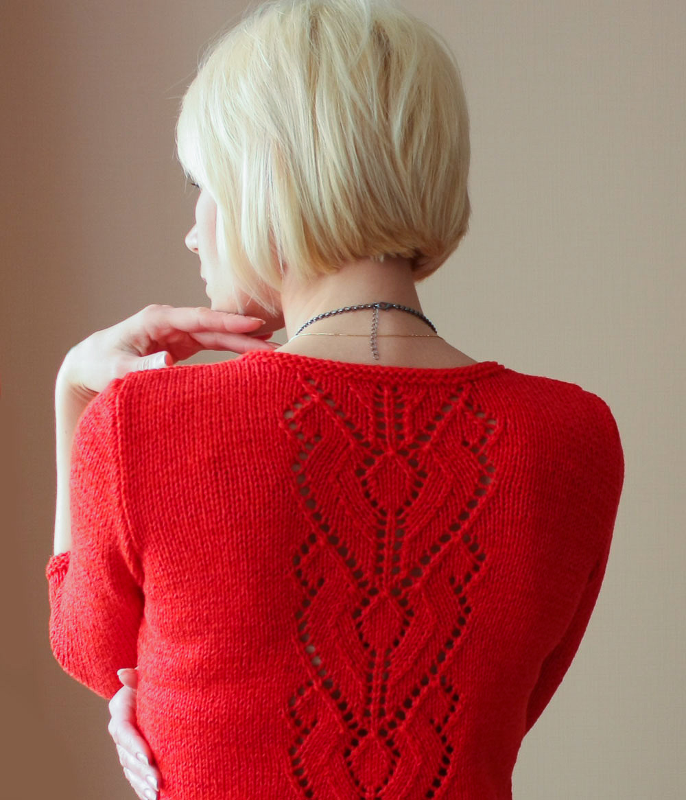 Вязание свитера с красивой спинкой